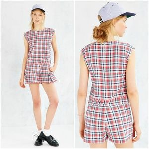 UO x Ryder Checkered Plaid Romper
